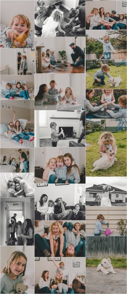 compliation of photographs from Fisher Family Lifestyle Session