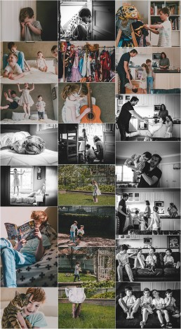 compilation of photographs from Pitt Family lifestyle photography Session for blog post
