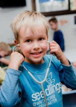 kindergarten boy with stethascope