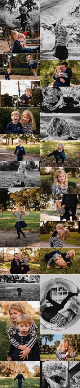 collection of photographs from outdoor lifestyle family session